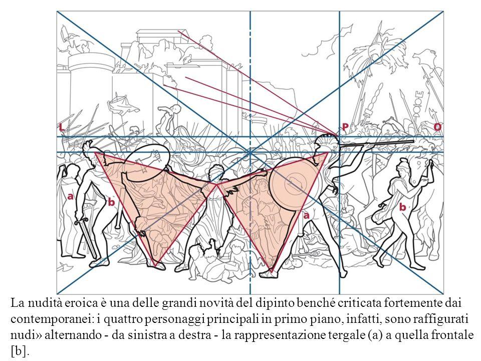 La nudità eroica è una delle grandi novità del dipinto benché criticata fortemente dai contemporanei: i quattro personaggi principali in primo piano, infatti, sono raffigurati nudi» alternando - da sinistra a destra - la rappresentazione tergale (a) a quella frontale [b].